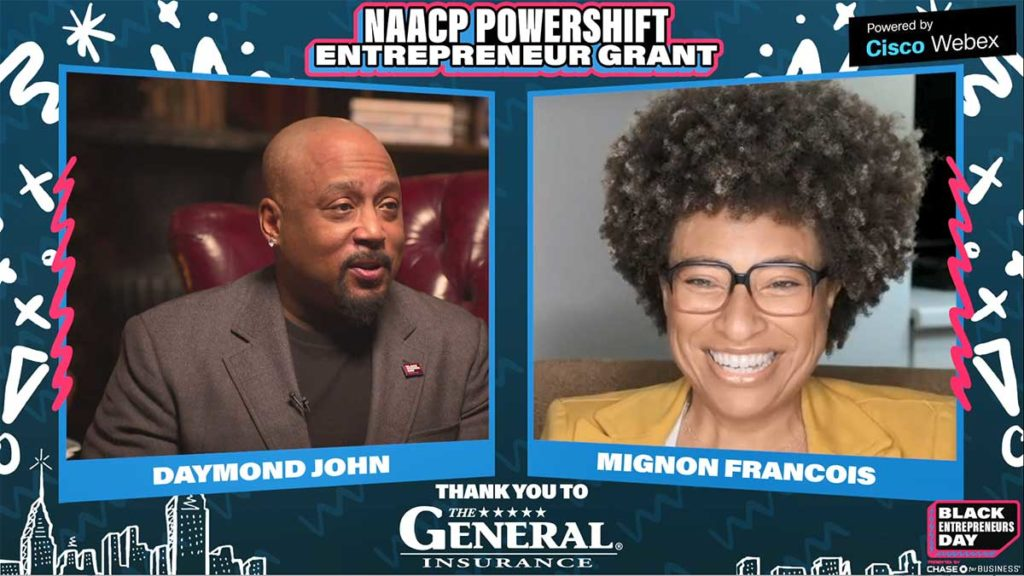 Daymond John congratulates Mignon Francois of Cupcake Collection for winning NAACP grant sponsored by The General