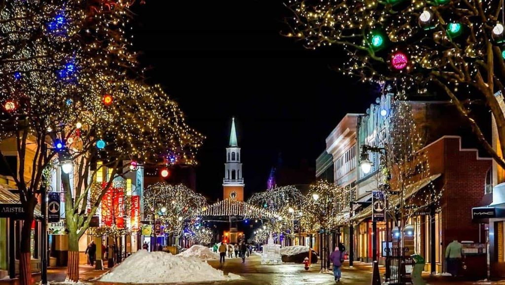 holiday lights in quaint downtown area