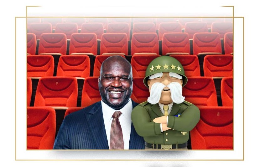 The General Insurance SI Fan Wall - Shaq and The General in theater seating together
