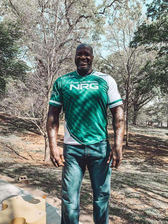 Shaq wearing team jersey for The General NRG